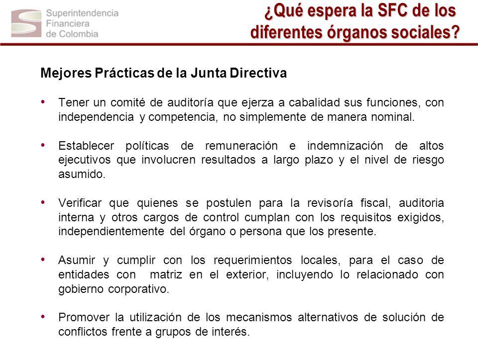 Mejores Prácticas de la Junta Directiva Tener un comité de auditoría que ejerza a cabalidad sus funciones, con independencia y competencia, no simplem