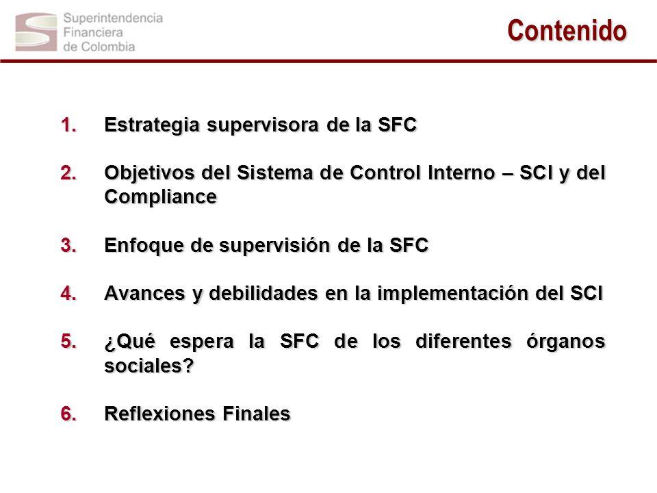 Contenido 1.Estrategia supervisora de la SFC 2.Objetivos del Sistema de Control Interno – SCI y del Compliance 3.Enfoque de supervisión de la SFC 4.Avances y debilidades en la implementación del SCI 5.¿Qué espera la SFC de los diferentes órganos sociales.