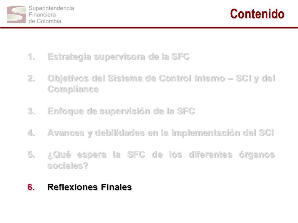 Contenido 1.Estrategia supervisora de la SFC 2.Objetivos del Sistema de Control Interno – SCI y del Compliance 3.Enfoque de supervisión de la SFC 4.Av