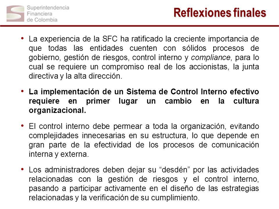 La experiencia de la SFC ha ratificado la creciente importancia de que todas las entidades cuenten con sólidos procesos de gobierno, gestión de riesgos, control interno y compliance, para lo cual se requiere un compromiso real de los accionistas, la junta directiva y la alta dirección.