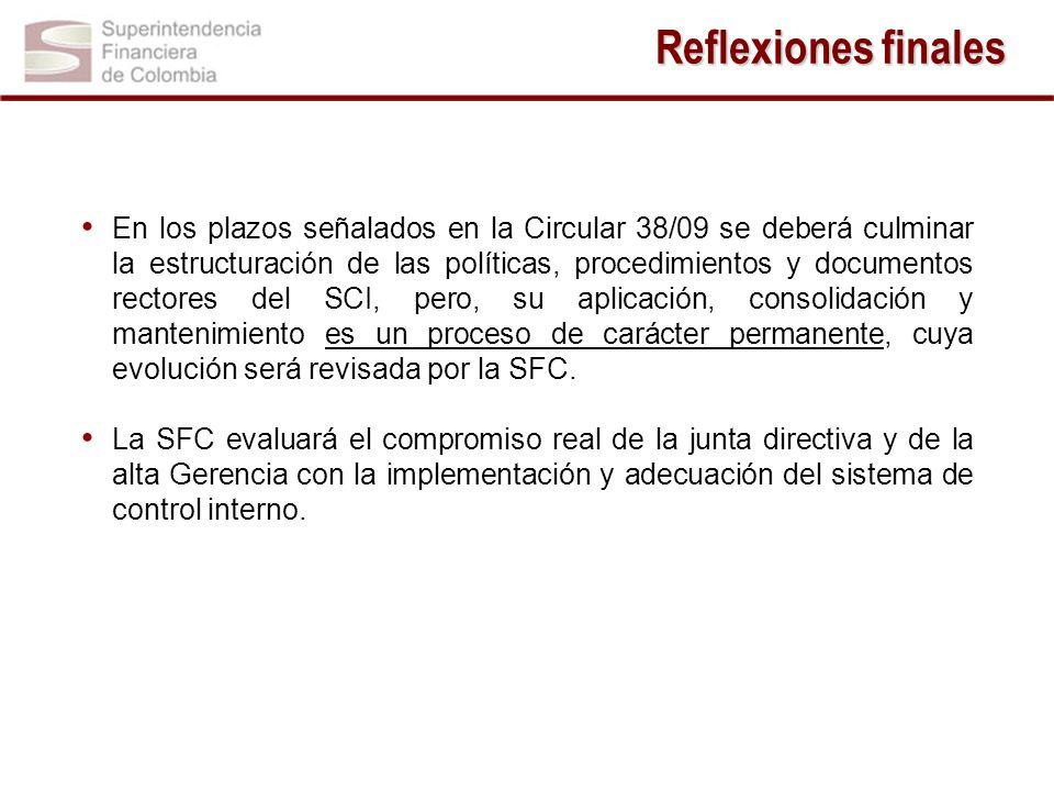 En los plazos señalados en la Circular 38/09 se deberá culminar la estructuración de las políticas, procedimientos y documentos rectores del SCI, pero