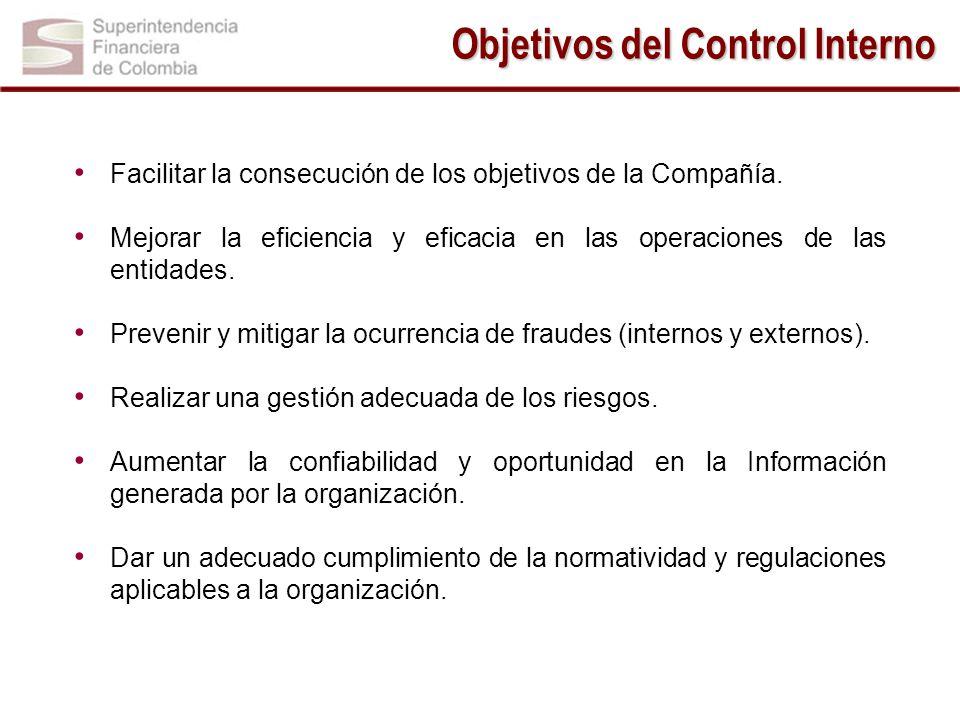 Objetivos del Control Interno Facilitar la consecución de los objetivos de la Compañía. Mejorar la eficiencia y eficacia en las operaciones de las ent