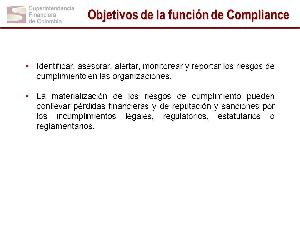 Objetivos de la función de Compliance Identificar, asesorar, alertar, monitorear y reportar los riesgos de cumplimiento en las organizaciones. La mate