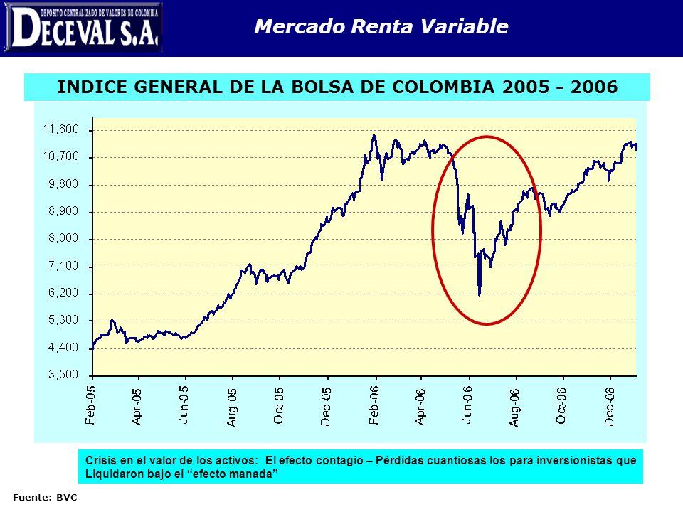 Mercado Renta Variable INDICE GENERAL DE LA BOLSA DE COLOMBIA 2005 - 2006 Fuente: BVC Crisis en el valor de los activos: El efecto contagio – Pérdidas