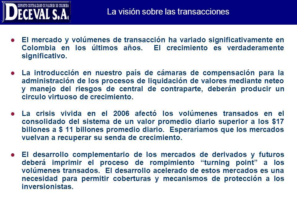 La visión sobre las transacciones l El mercado y volúmenes de transacción ha variado significativamente en Colombia en los últimos años. El crecimient