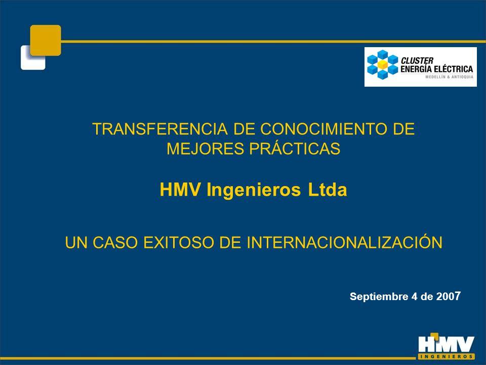 TRANSFERENCIA DE CONOCIMIENTO DE MEJORES PRÁCTICAS HMV Ingenieros Ltda UN CASO EXITOSO DE INTERNACIONALIZACIÓN Septiembre 4 de 200 7