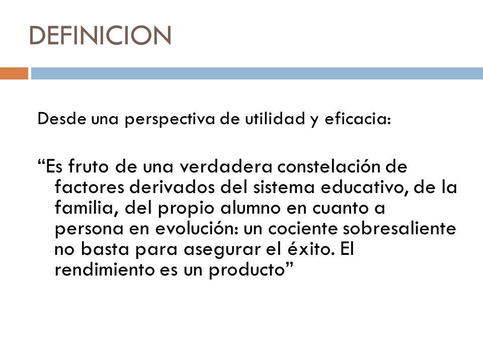 DEFINICION Desde una perspectiva de utilidad y eficacia: Es fruto de una verdadera constelación de factores derivados del sistema educativo, de la fam