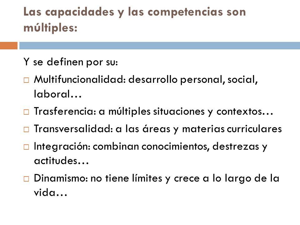 Las capacidades y las competencias son múltiples: Y se definen por su: Multifuncionalidad: desarrollo personal, social, laboral… Trasferencia: a múlti