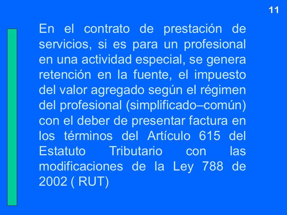 11 En el contrato de prestación de servicios, si es para un profesional en una actividad especial, se genera retención en la fuente, el impuesto del v