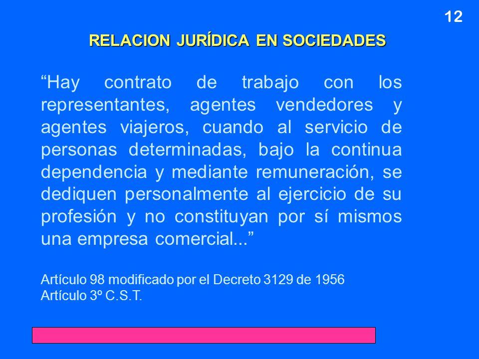 12 RELACION JURÍDICA EN SOCIEDADES Hay contrato de trabajo con los representantes, agentes vendedores y agentes viajeros, cuando al servicio de person