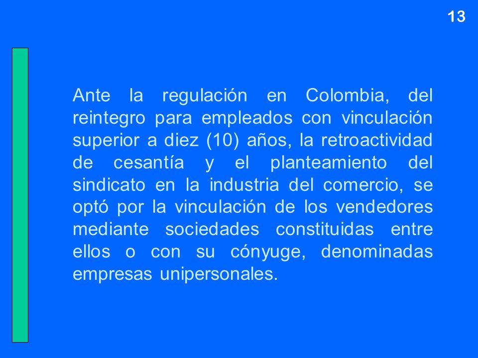13 Ante la regulación en Colombia, del reintegro para empleados con vinculación superior a diez (10) años, la retroactividad de cesantía y el planteam