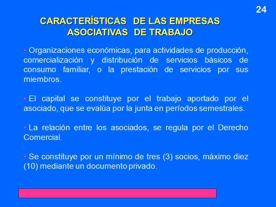 24 CARACTERÍSTICAS DE LAS EMPRESAS ASOCIATIVAS DE TRABAJO Organizaciones económicas, para actividades de producción, comercialización y distribución d