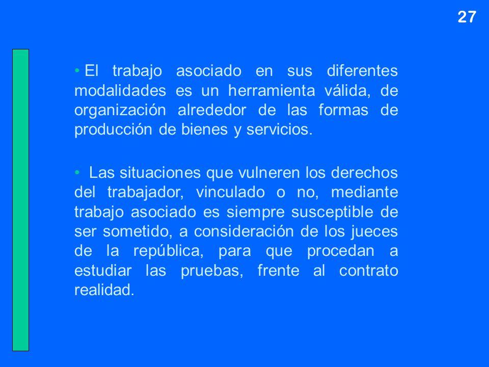 27 El trabajo asociado en sus diferentes modalidades es un herramienta válida, de organización alrededor de las formas de producción de bienes y servi