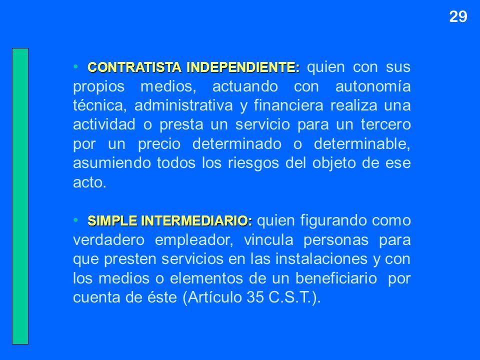 29 CONTRATISTA INDEPENDIENTE: CONTRATISTA INDEPENDIENTE: quien con sus propios medios, actuando con autonomía técnica, administrativa y financiera rea