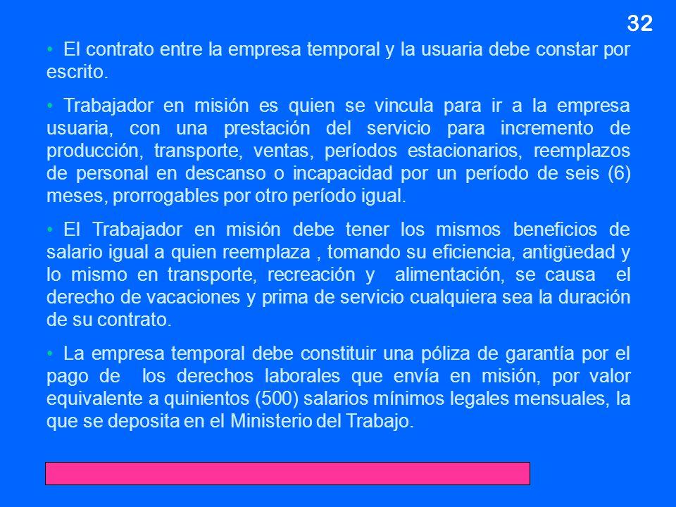 32 El contrato entre la empresa temporal y la usuaria debe constar por escrito. Trabajador en misión es quien se vincula para ir a la empresa usuaria,