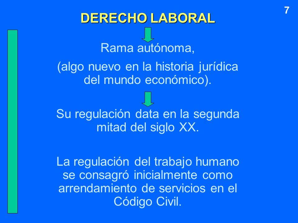 DERECHO LABORAL Rama autónoma, (algo nuevo en la historia jurídica del mundo económico). Su regulación data en la segunda mitad del siglo XX. La regul