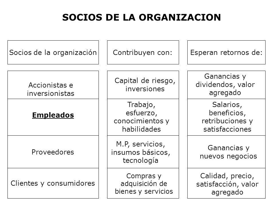 SOCIOS DE LA ORGANIZACION Socios de la organizaciónContribuyen con:Esperan retornos de: Accionistas e inversionistas Empleados Proveedores Clientes y