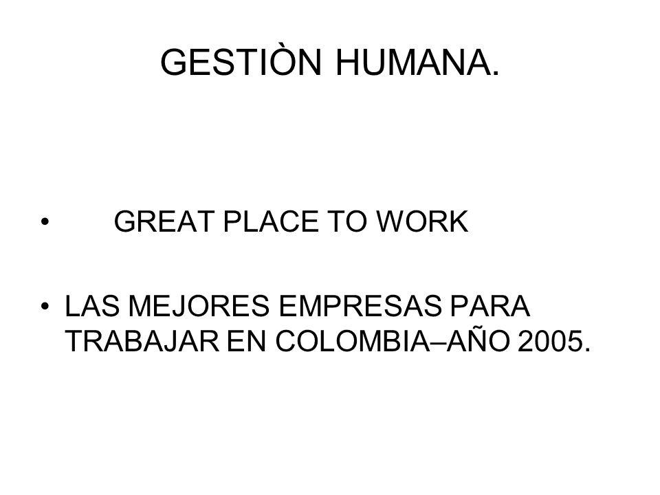 GESTIÒN HUMANA. GREAT PLACE TO WORK LAS MEJORES EMPRESAS PARA TRABAJAR EN COLOMBIA–AÑO 2005.