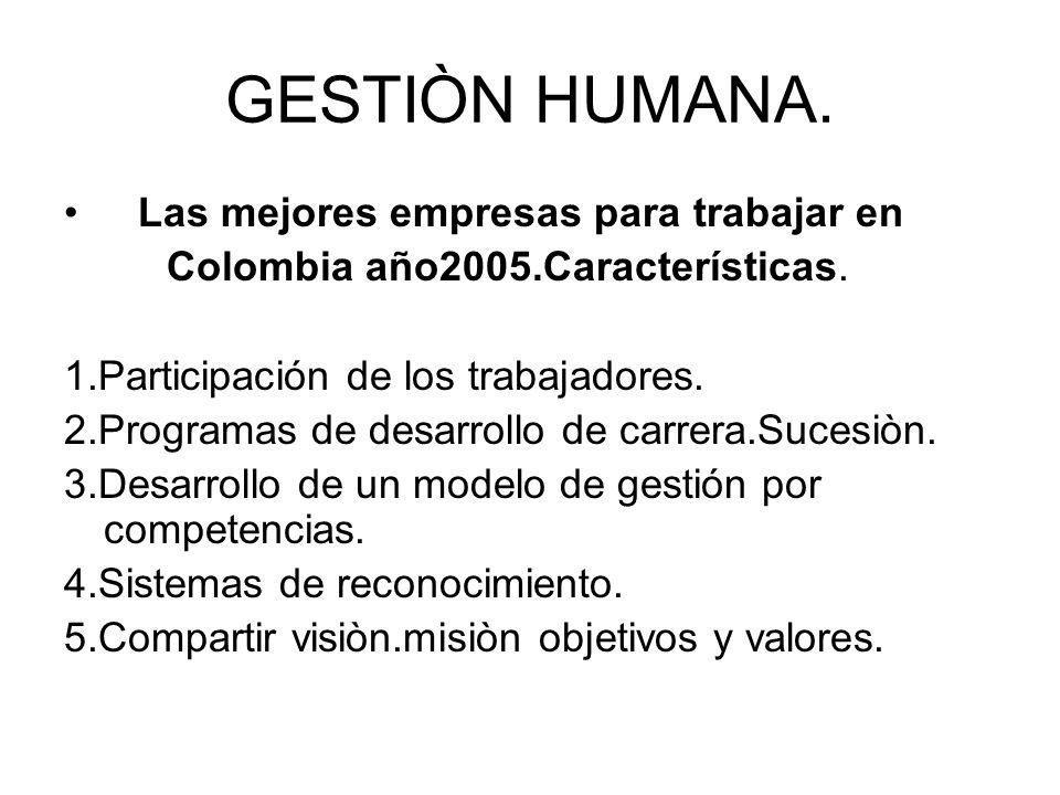 GESTIÒN HUMANA. Las mejores empresas para trabajar en Colombia año2005.Características. 1.Participación de los trabajadores. 2.Programas de desarrollo