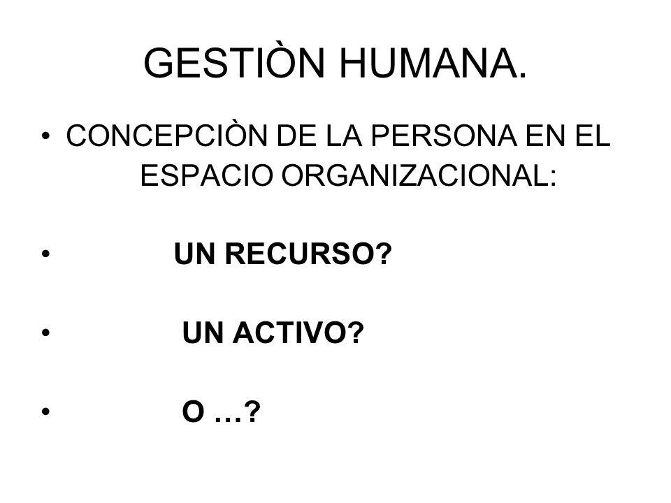 GESTIÒN HUMANA. CONCEPCIÒN DE LA PERSONA EN EL ESPACIO ORGANIZACIONAL: UN RECURSO? UN ACTIVO? O …?
