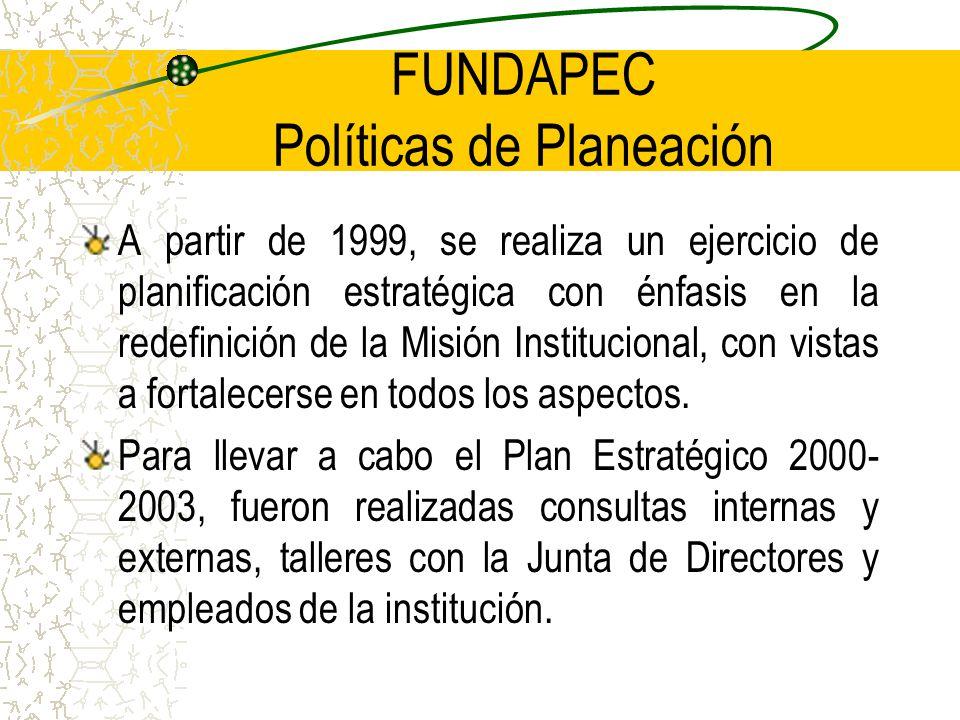 FUNDAPEC Políticas de Planeación A partir de 1999, se realiza un ejercicio de planificación estratégica con énfasis en la redefinición de la Misión Institucional, con vistas a fortalecerse en todos los aspectos.