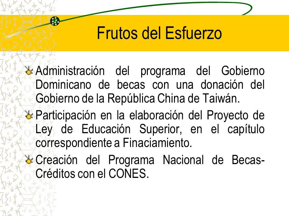 Frutos del Esfuerzo Administración del programa del Gobierno Dominicano de becas con una donación del Gobierno de la República China de Taiwán.