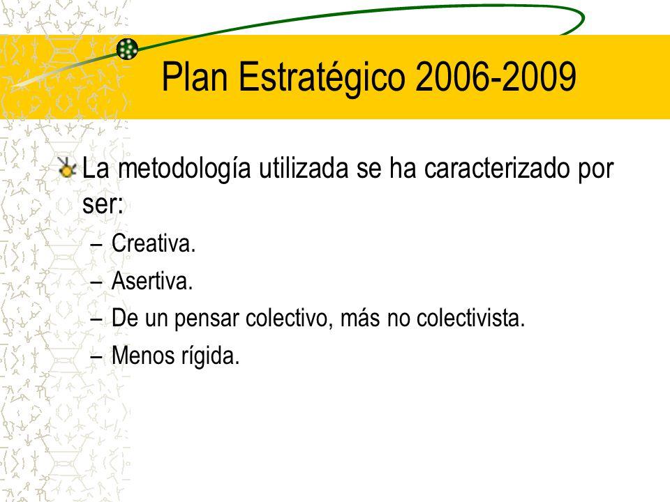 Plan Estratégico 2006-2009 La metodología utilizada se ha caracterizado por ser: –Creativa.
