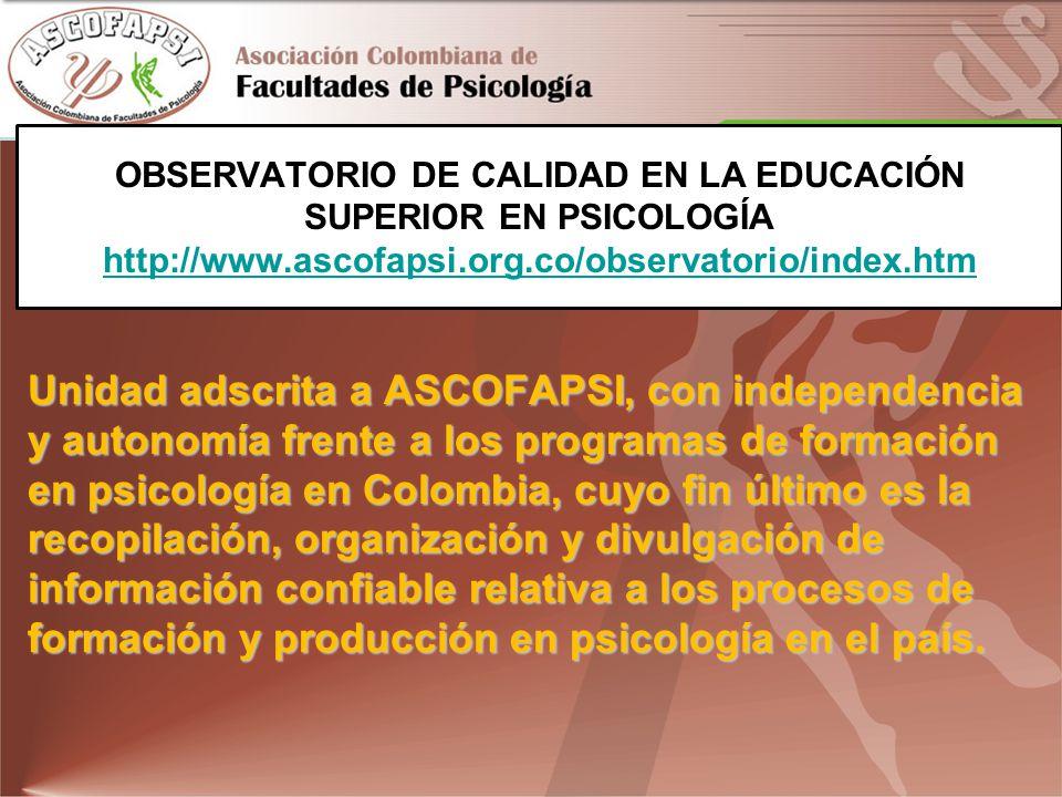 OBSERVATORIO DE CALIDAD EN LA EDUCACIÓN SUPERIOR EN PSICOLOGÍA http://www.ascofapsi.org.co/observatorio/index.htm http://www.ascofapsi.org.co/observatorio/index.htm Unidad adscrita a ASCOFAPSI, con independencia y autonomía frente a los programas de formación en psicología en Colombia, cuyo fin último es la recopilación, organización y divulgación de información confiable relativa a los procesos de formación y producción en psicología en el país.