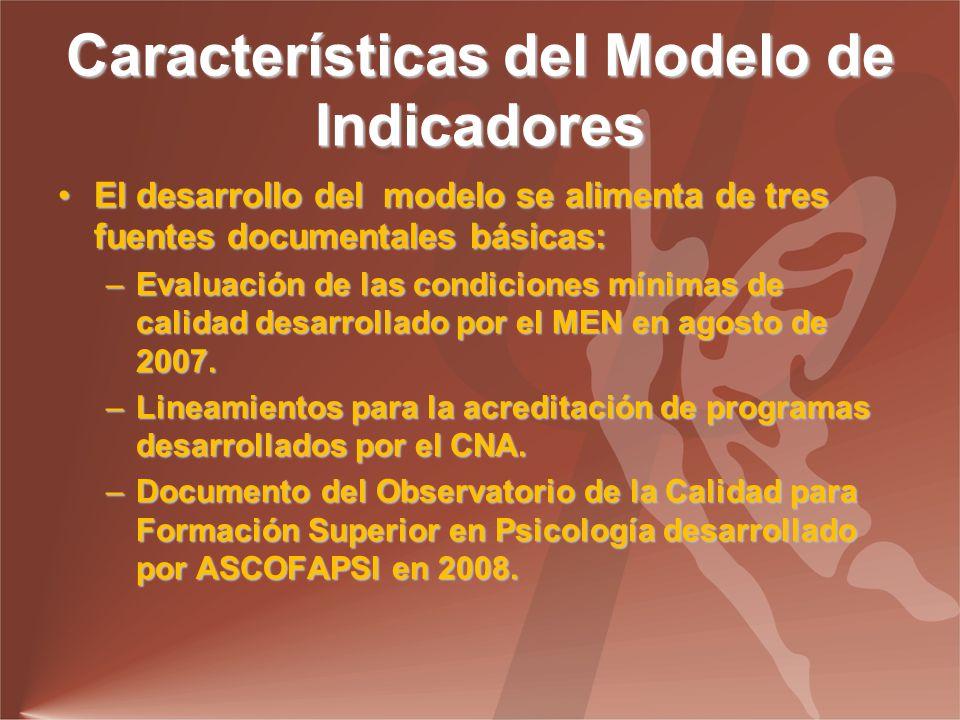 Características del Modelo de Indicadores El desarrollo del modelo se alimenta de tres fuentes documentales básicas:El desarrollo del modelo se alimenta de tres fuentes documentales básicas: –Evaluación de las condiciones mínimas de calidad desarrollado por el MEN en agosto de 2007.