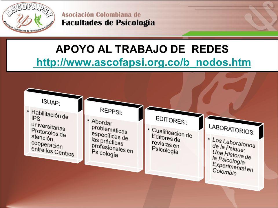 APOYO AL TRABAJO DE REDES http://www.ascofapsi.org.co/b_nodos.htm http://www.ascofapsi.org.co/b_nodos.htm