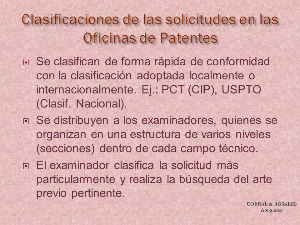 Se clasifican de forma rápida de conformidad con la clasificación adoptada localmente o internacionalmente.
