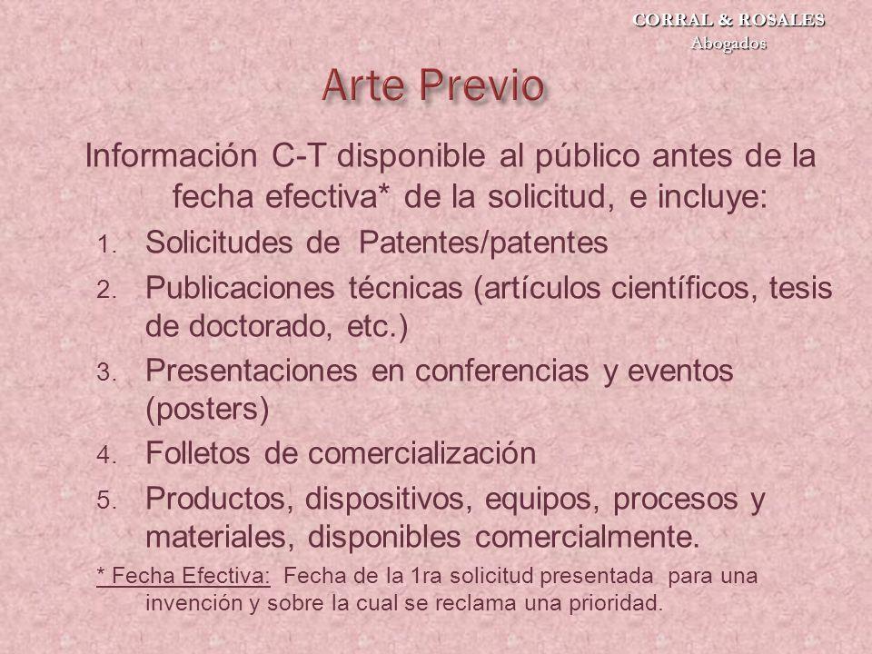Información C-T disponible al público antes de la fecha efectiva* de la solicitud, e incluye: 1.