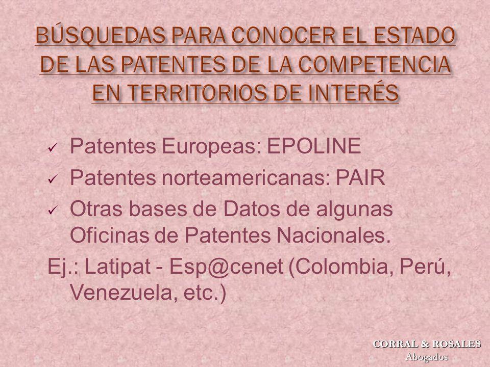 Patentes Europeas: EPOLINE Patentes norteamericanas: PAIR Otras bases de Datos de algunas Oficinas de Patentes Nacionales.