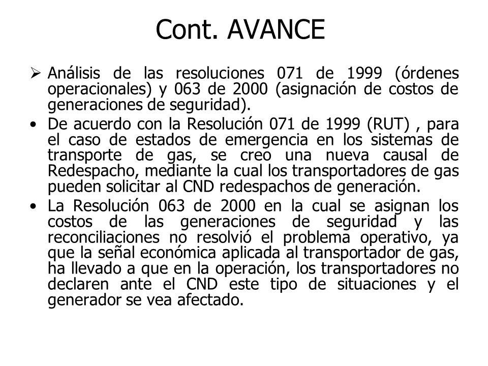 Análisis de las resoluciones 071 de 1999 (órdenes operacionales) y 063 de 2000 (asignación de costos de generaciones de seguridad).