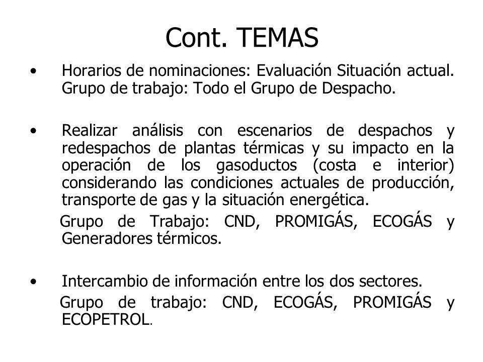 Horarios de nominaciones: Se evaluó cómo se ha desarrollado el tema de Ofertas, Despacho Eléctrico y Nominación de Gas (Productores y Transportadores).