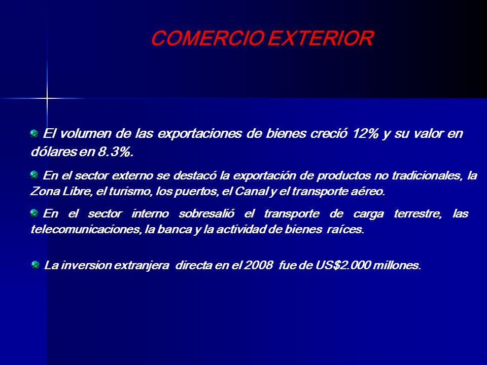 COMERCIO EXTERIOR El volumen de las exportaciones de bienes creció 12% y su valor en dólares en 8.3%. En el sector externo se destacó la exportación d