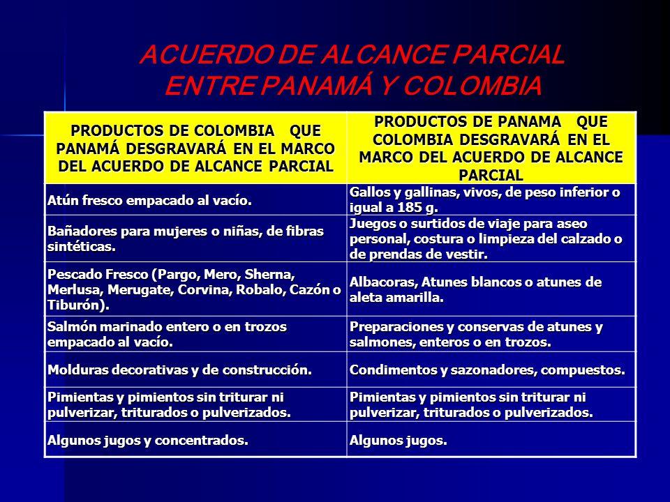 ACUERDO DE ALCANCE PARCIAL ENTRE PANAMÁ Y COLOMBIA PRODUCTOS DE COLOMBIA QUE PANAMÁ DESGRAVARÁ EN EL MARCO DEL ACUERDO DE ALCANCE PARCIAL PRODUCTOS DE