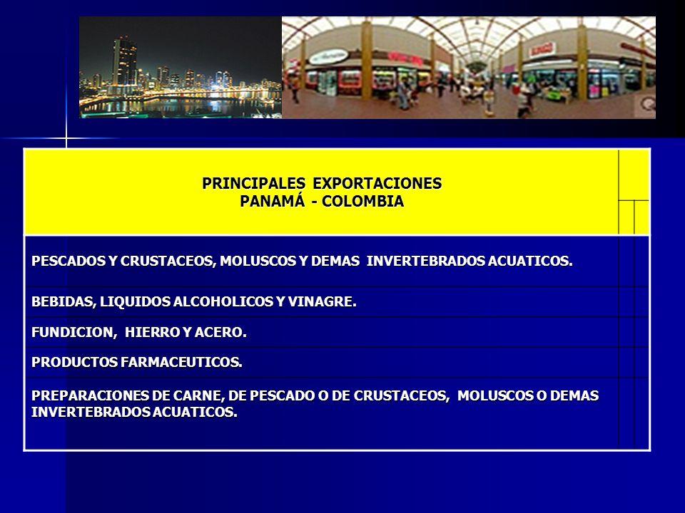PRINCIPALES EXPORTACIONES PANAMÁ - COLOMBIA PESCADOS Y CRUSTACEOS, MOLUSCOS Y DEMAS INVERTEBRADOS ACUATICOS. BEBIDAS, LIQUIDOS ALCOHOLICOS Y VINAGRE.