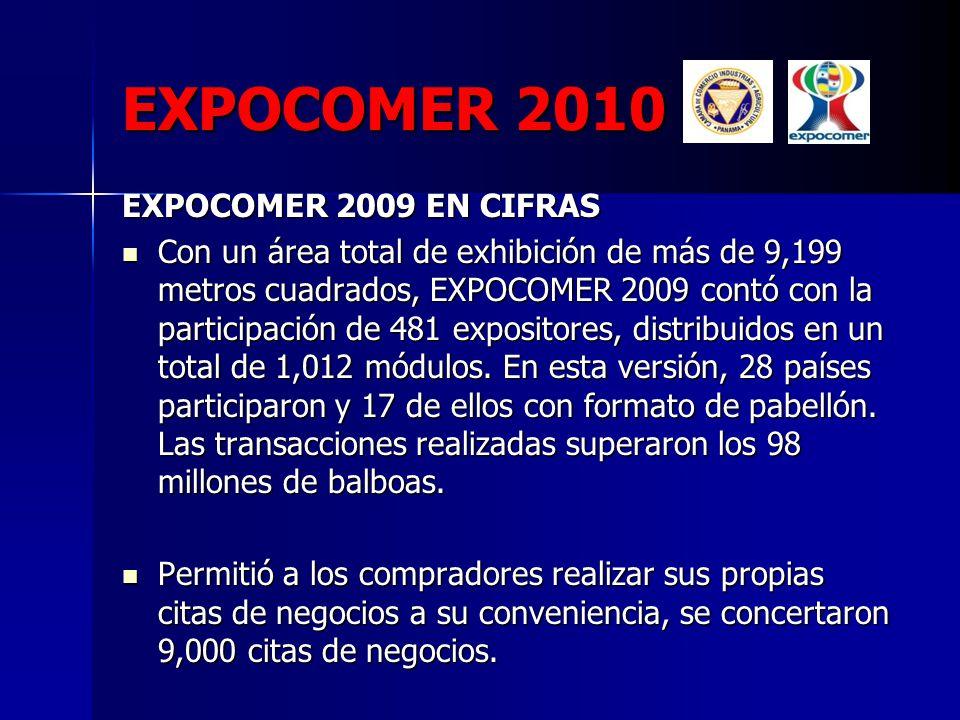 EXPOCOMER 2010 EXPOCOMER 2009 EN CIFRAS EXPOCOMER 2009 EN CIFRAS Con un área total de exhibición de más de 9,199 metros cuadrados, EXPOCOMER 2009 cont