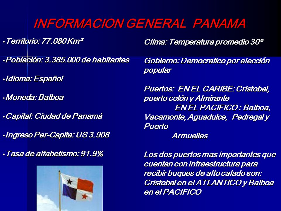 INFORMACION GENERAL PANAMA Territorio: 77.080 Km² Territorio: 77.080 Km² Población: 3.385.000 de habitantes Población: 3.385.000 de habitantes Idioma: