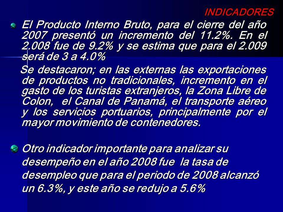 INDICADORES INDICADORES El Producto Interno Bruto, para el cierre del año 2007 presentó un incremento del 11.2%. En el 2.008 fue de 9.2% y se estima q