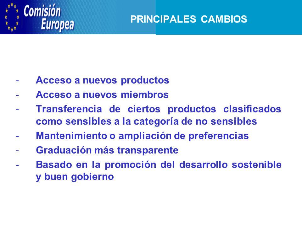 -Acceso a nuevos productos -Acceso a nuevos miembros -Transferencia de ciertos productos clasificados como sensibles a la categoría de no sensibles -Mantenimiento o ampliación de preferencias -Graduación más transparente -Basado en la promoción del desarrollo sostenible y buen gobierno