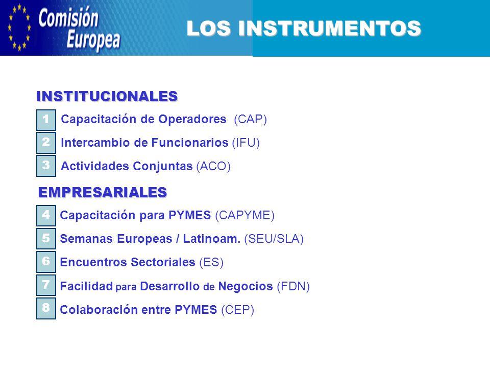 LOS INSTRUMENTOS Capacitación para PYMES (CAPYME) Semanas Europeas / Latinoam.