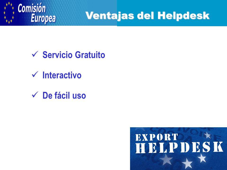 Servicio Gratuito Interactivo De fácil uso Ventajas del Helpdesk