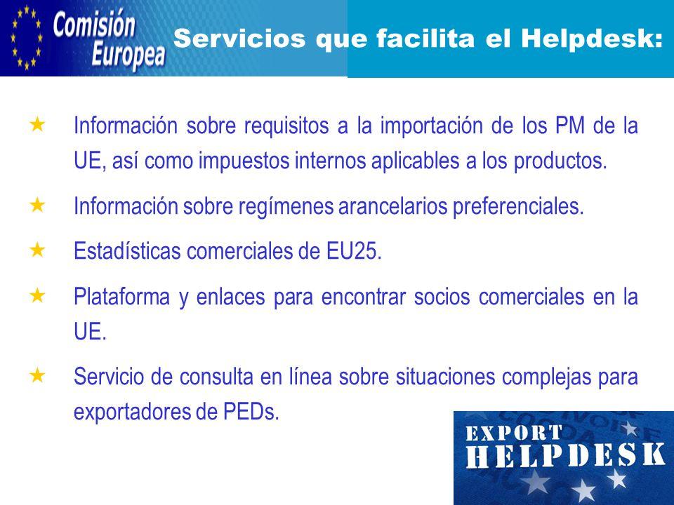 Información sobre requisitos a la importación de los PM de la UE, así como impuestos internos aplicables a los productos.