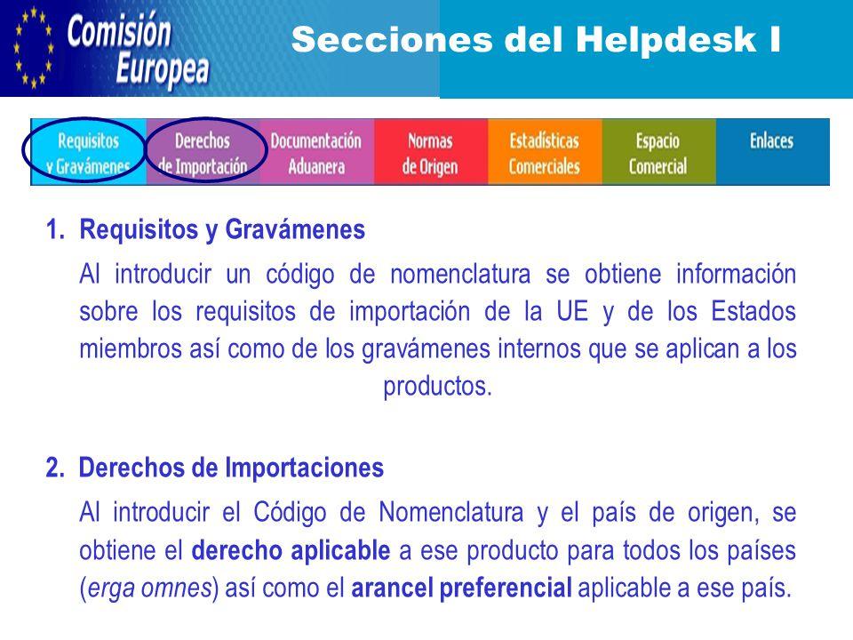 Secciones del Helpdesk I 1.
