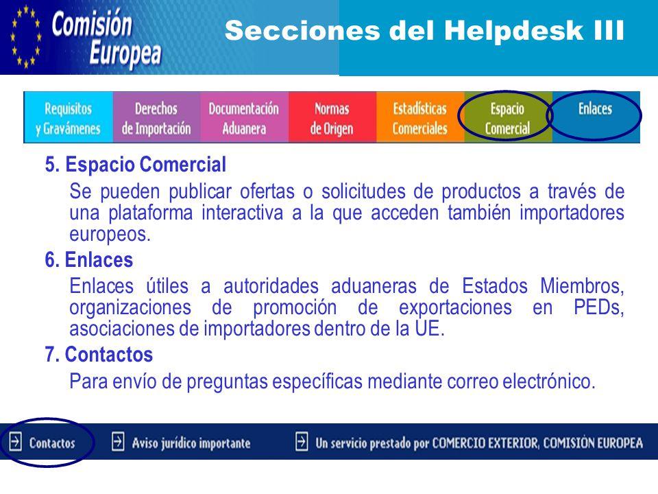 5. Espacio Comercial Se pueden publicar ofertas o solicitudes de productos a través de una plataforma interactiva a la que acceden también importadore