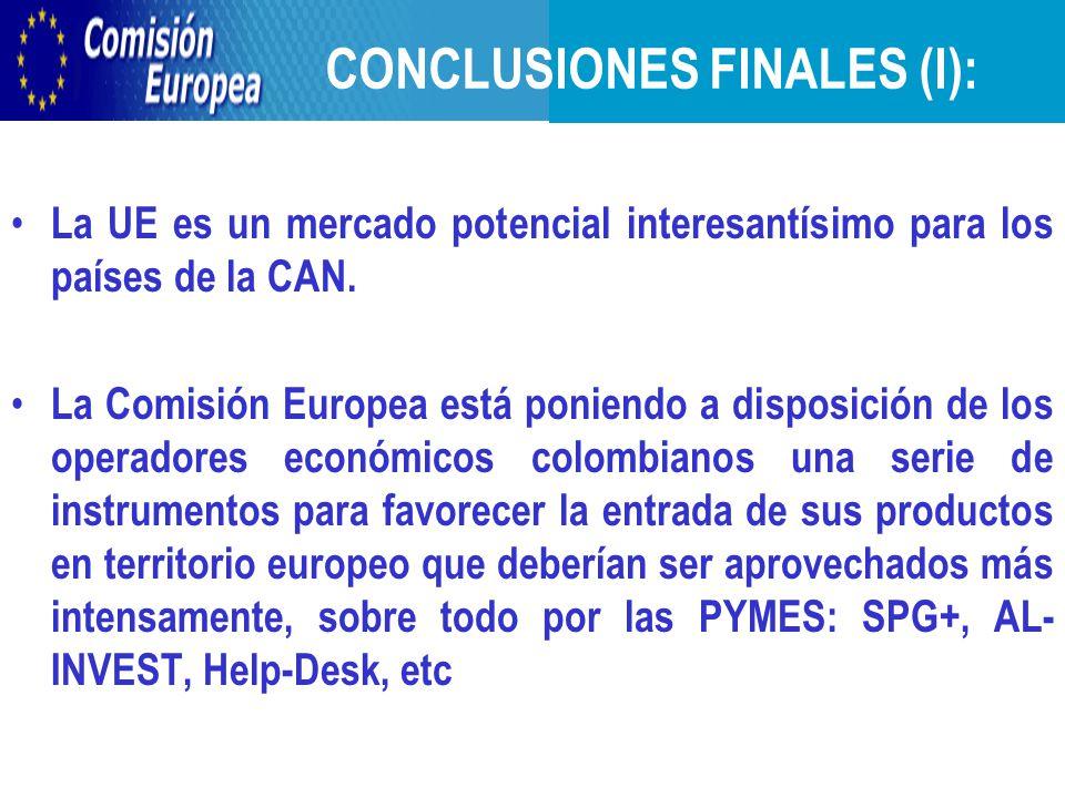 CONCLUSIONES FINALES (I): La UE es un mercado potencial interesantísimo para los países de la CAN.
