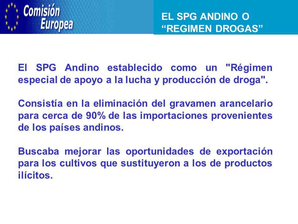 EL SPG ANDINO O REGIMEN DROGAS Acuerdo de Asociación de IV Generación CAN - UE El SPG Andino establecido como un Régimen especial de apoyo a la lucha y producción de droga .