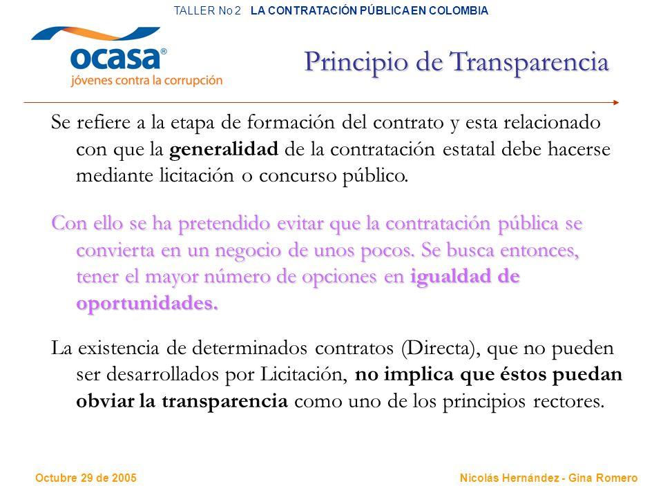 Octubre 29 de 2005 TALLER No 2 LA CONTRATACIÓN PÚBLICA EN COLOMBIA Nicolás Hernández - Gina Romero Principio de Transparencia Se refiere a la etapa de formación del contrato y esta relacionado con que la generalidad de la contratación estatal debe hacerse mediante licitación o concurso público.